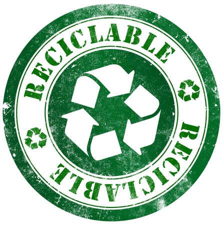 reciclable: Sello grunge reciclable, en espa�ol o el idioma catal�n