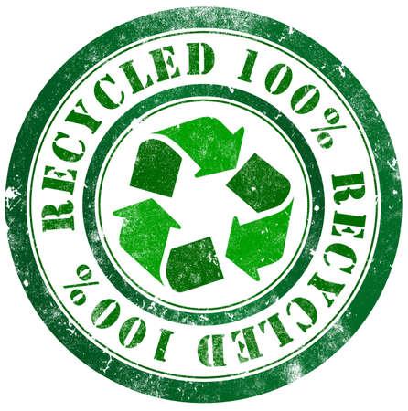 Recycled grunge stamp, in english language photo