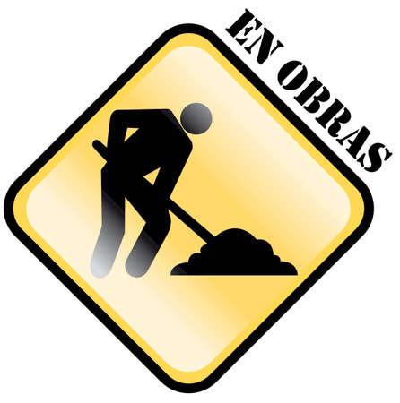 spanish language: under construction sign, in spanish language Stock Photo