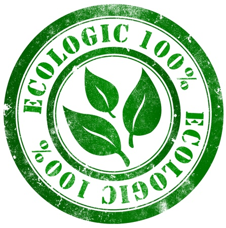 Ecologic 100  grunge stamp, in english language photo