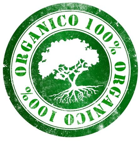 spanish language: Organic 100  grunge stamp, in spanish language Stock Photo