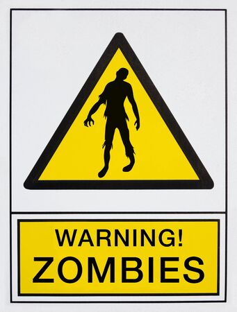 warning zombies signal, in english language photo