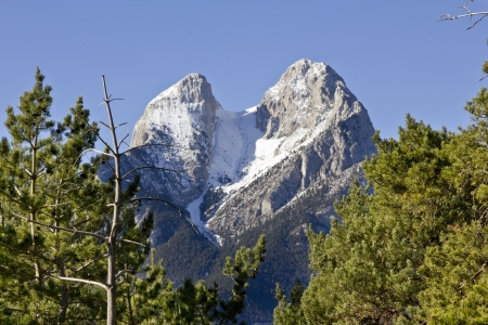 El Pedraforca with snow in winter  Is a Catalonian mythic and magic mountain - pyrenee zone -  Spain