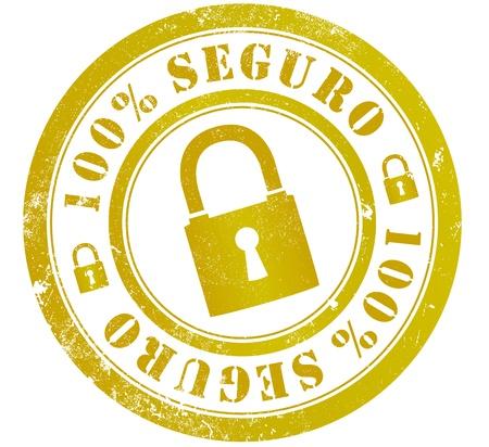 spanish language: 100% secure grunge stamp, in spanish language