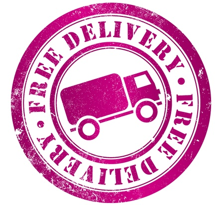 free delivery grunge stamp, in english language photo