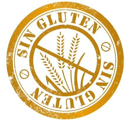 gluten free: gluten free grunge stamp, in spanish language