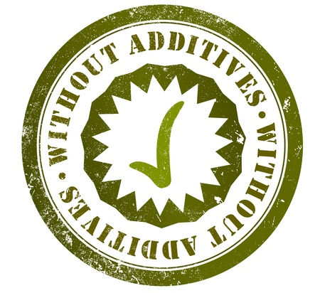 without additives coloring or preservatives grunge stamp, in english language Stock Photo
