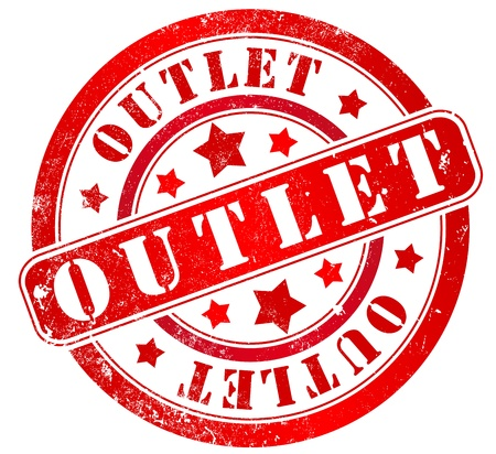 outlet: outlet grunge stamp, in english language Stock Photo