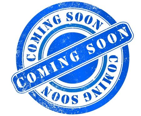 coming soon grunge stamp, in english language Stock Photo