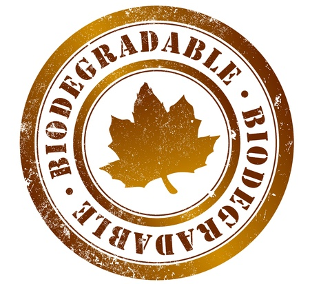 biodegradable grunge stamp, in english, spanish and catalan language Stock Photo