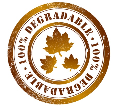 degradable: 100  degradable grunge stamp, in english, spanish and catalan language