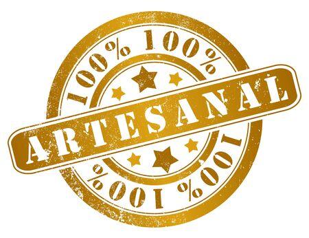 artisanal: 100  artisan product grunge stamp, in spanish language Stock Photo