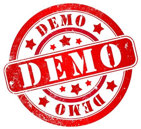 shareware: demo grunge stamp, in english, spanish and catalan language Stock Photo
