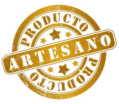 artisan product grunge stamp, in spanish language
