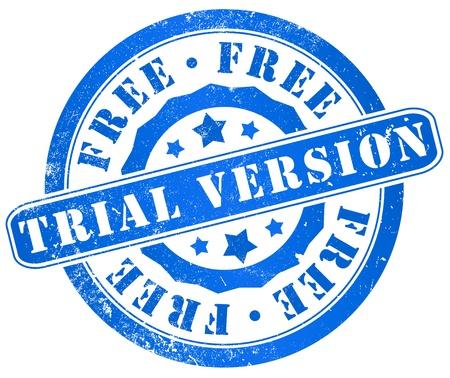 shareware: free trial version grunge stamp, in english, language