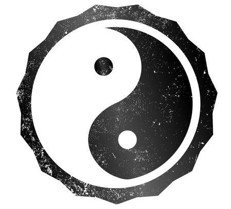 duality: yin and yang grunge stamp
