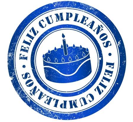 spanish language: happy birthday grunge stamp, in spanish language Stock Photo