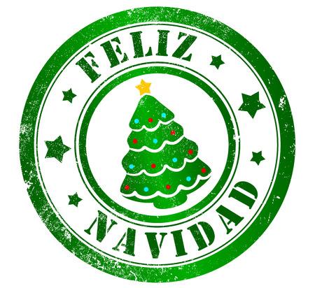 spanish language: merry christmas grunge stamp, in spanish language Stock Photo