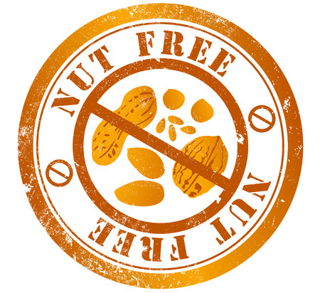 nut free grunge stamp, in english language Stock Photo