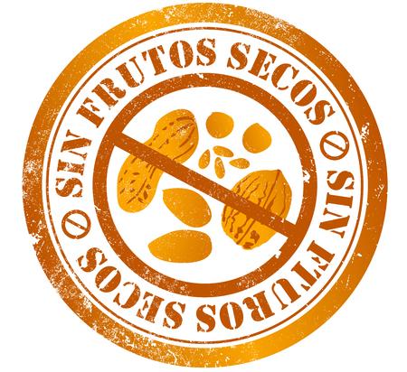 nut free grunge stamp, in spanish language