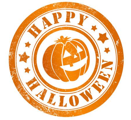happy halloween: happy halloween grunge stamp, in english language