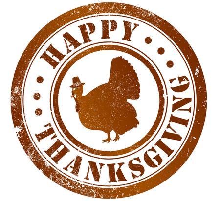 happy thanksgiving day grunge stamp, in english language