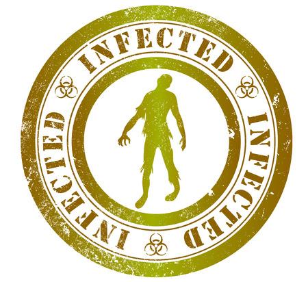 english language: infected grunge stamp, in english language