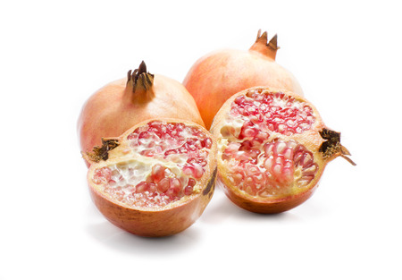 punica granatum: Pomegranate (Punica granatum) isolated Stock Photo