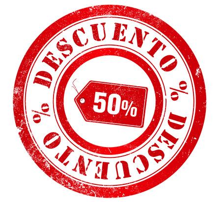 50  discount grunge stamp, in spanish language