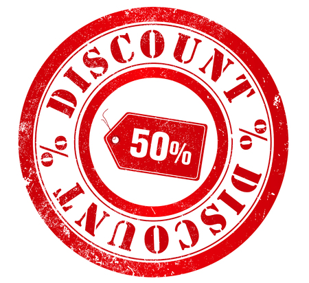 english language: 50  discount grunge stamp, in english language