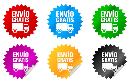 free shipping label or sticker of different colors, in spanish language Stock Photo