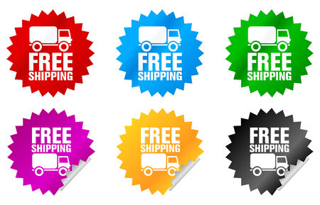 free shipping label or sticker of different colors, in english language photo