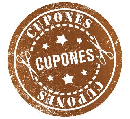 spanish language: coupons grunge stamp, in spanish language Stock Photo