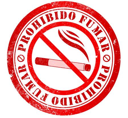 spanish language: no smoking grunge stamp, in spanish language