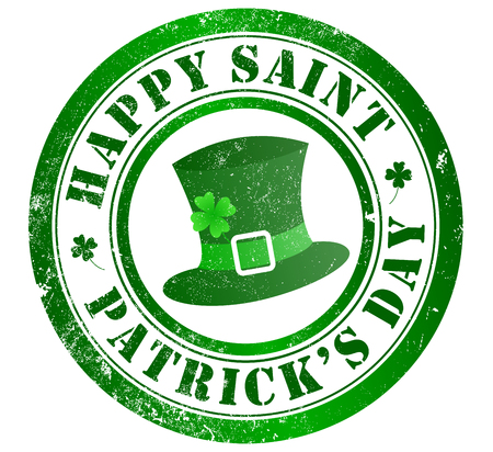 saint patricks: happy saint patricks day grunge stamp, in english language Stock Photo