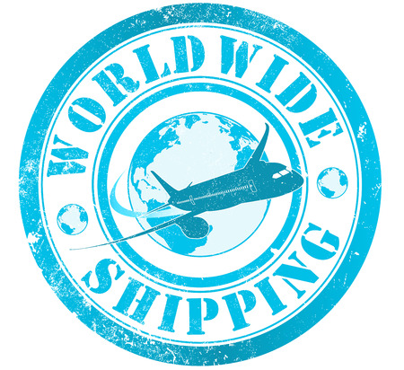 wordlwide shipping grunge stamp, in english language photo