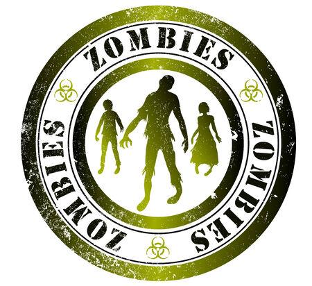 english language: zombies grunge stamp, in english language