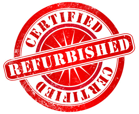 repaired: certified refurbished grunge stamp, in english language Stock Photo