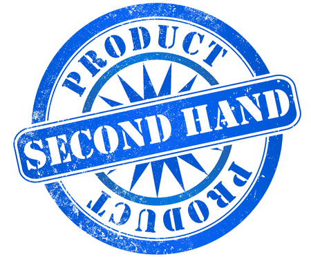 resale: second hand grunge stamp, in english language Stock Photo