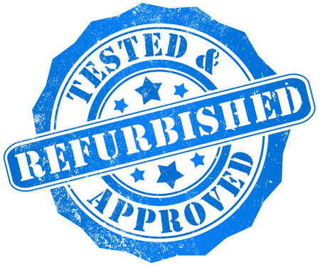 tested:  refurbished, tested and approved grunge stamp, in english language Stock Photo