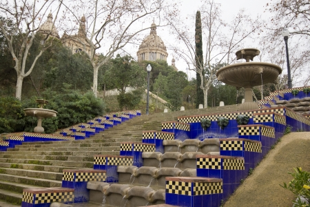 montjuic: Montjuic park with museum in Barcelona City, Catalonia (Spain)