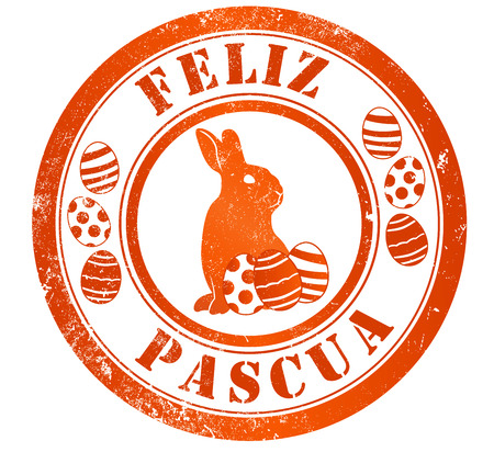 happy easter grunge stamp, in spanish language photo