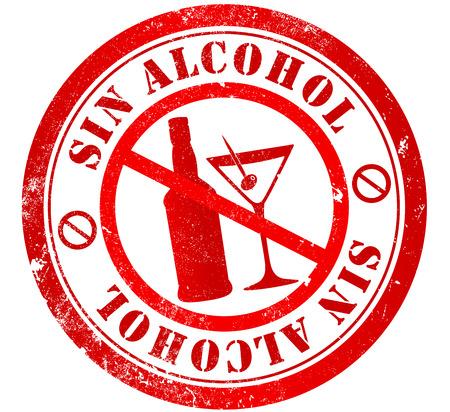 spanish language: Alcohol free grunge stamp, in spanish language