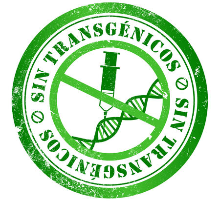 transgenic: transgenic  GMO, genetically modified organisms  free grunge stamp, in spanish language
