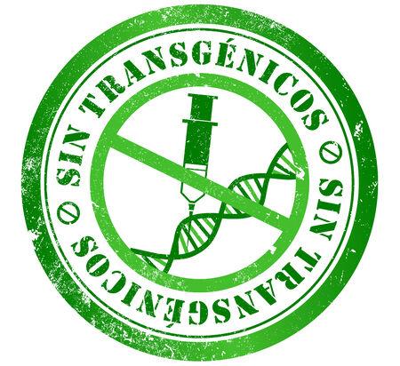 transgenic  GMO, genetically modified organisms  free grunge stamp, in spanish language