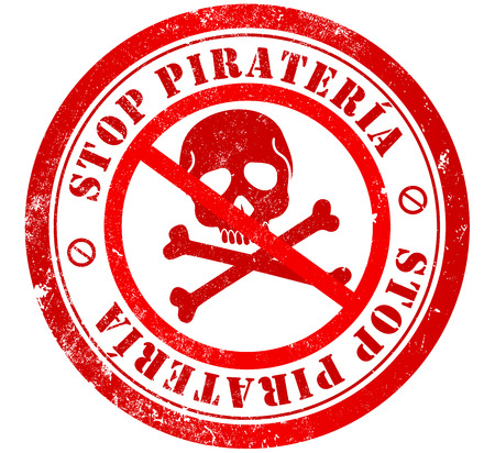 stop piracy grunge stamp, in spanish language photo