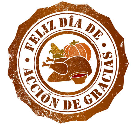 happy thanksgiving day grunge stamp, in spanish language photo