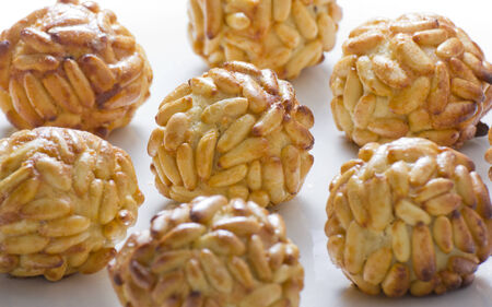 panallets, are traditional desserts of All Saints holiday. known as Castanyada in Catalonia, Spain Stock Photo
