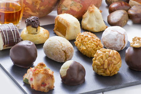 panellets: Panellets, chestnut, sweet potatoes and moscatell, are traditional desserts of All Saints holiday. known as Castanyada in Catalonia, Spain Stock Photo