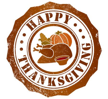 happy thanksgiving day grunge stamp, in english language photo